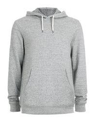 TOPMAN - Gray Grey Slub Overhead Hoodie for Men - Lyst