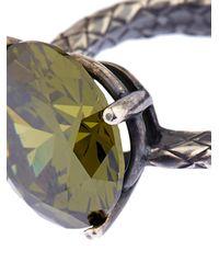 Bottega Veneta - Green Cubic Zirconia And Silver Ring - Lyst