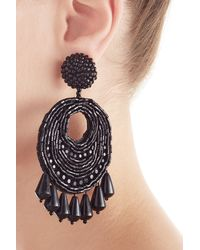 Kenneth Jay Lane | Black Oval W/ Drops Round Top Earrings | Lyst