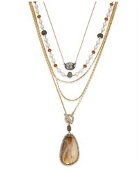 INC International Concepts | Metallic Gold-tone Multi-row Pendant Necklace | Lyst