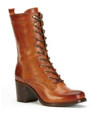 Frye | Brown Kendall Mid-calf Leather Lace-up Boots | Lyst