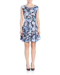 Cece by Cynthia Steffe - Black V-back Floral-print Dress - Lyst