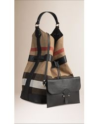 Burberry - Black The Large Ashby Canvas Check And Leather Bag - Lyst