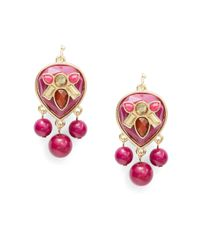 Catherine Stein | Pink Cabochon Beaded Drop Earrings | Lyst