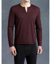 John Varvatos | Purple Burnout Eyelet Crewneck for Men | Lyst