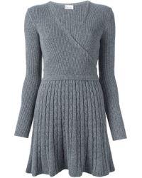 RED Valentino - Gray V-neck Dress - Lyst