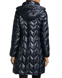 Via Spiga - Blue Hooded Quilted Packable Coat - Lyst