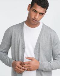 Zara | Gray Merino Cardigan for Men | Lyst