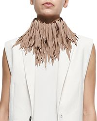 Brunello Cucinelli - Natural Feathered Silk Fringe Necklace - Lyst