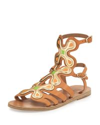 Ancient Greek Sandals - Natural Silicon Flower Caged Leather Sandals - Lyst