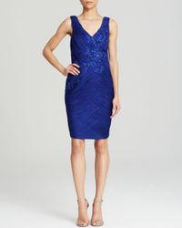Sue Wong - Blue Dress Sleeveless Double V Beaded Ruched Sheath - Lyst