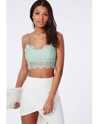 Missguided | Green Neilina Eyelash Lace Bralet Mint | Lyst