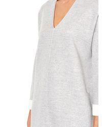 Vince - Gray V-Neck Sweatshirt Dress - Lyst