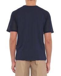 Sunspel - Blue Mesh-Contrast Cotton-Jersey T-Shirt for Men - Lyst