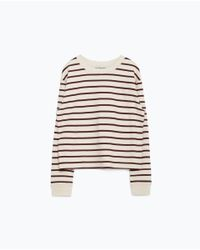 Zara | Purple Round Neck Sweatshirt | Lyst