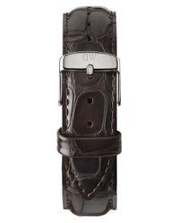 Daniel Wellington - 'classic York' 20mm Embossed Leather Watch Strap - Dark Brown/ Silver - Lyst