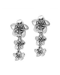 Aeravida | Metallic Tiered Hawaiian Plumeria .925 Sterling Silver Earrings | Lyst