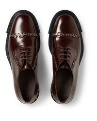 Lanvin - Brown Metal-Embellished Leather Derby Shoes for Men - Lyst