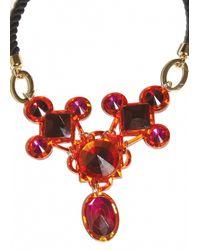 Matthew Williamson   Red Orange Jewelled Crescent Necklace   Lyst