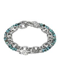 John Hardy | Blue Naga Double Wrap Silver Link Bracelet With Turquoise | Lyst