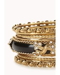 Forever 21 | Black Rhinestone Bangle Set | Lyst
