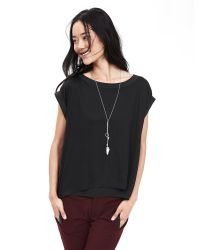 Banana Republic | Black Mixed-media Split-back Top | Lyst