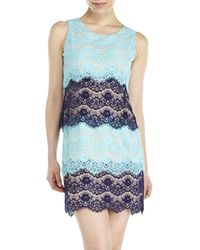 Jessica Simpson - Blue Tiered Lace Sheath Dress - Lyst