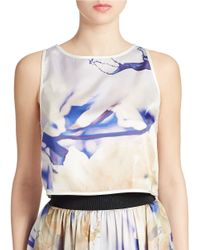 ABS By Allen Schwartz | Multicolor Printed Cropped Tank Top | Lyst
