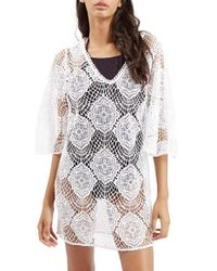 TOPSHOP | White 'angel Wing' Lace Cover-up Caftan | Lyst