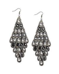 Material Girl - Gray Gunmetaltone Crystal Teardrop Diamondshaped Chandelier Earrings - Lyst