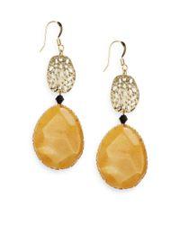 Cara | Natural Carnelian Jade Dangling Drop Earrings | Lyst
