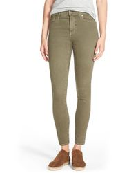 Madewell | Green 'high Riser' Garment Dyed Skinny Skinny Jeans | Lyst