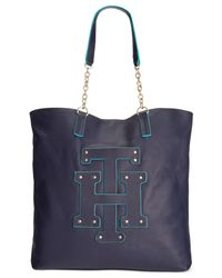 Tommy Hilfiger | Blue Th Patch Pebble Leather Tote With Chain | Lyst