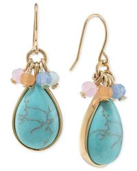 Carolee | Multicolor Gold-tone Single Drop Stone Earrings | Lyst