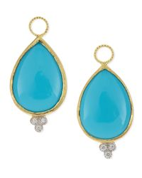 Jude Frances | Blue Large Pear Turquoise Earring Charms With Diamonds | Lyst