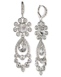 Givenchy - Metallic Silver-tone Crystal Chandelier Earrings - Lyst
