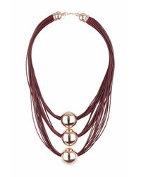TOPSHOP - Brown Multirow Cord Necklace - Lyst