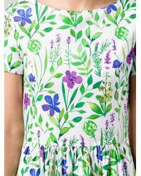 Oscar de la Renta | Green Flower Print Dress | Lyst