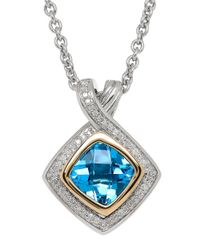 Lord & Taylor | Blue Topaz, Diamond And Sterling Silver Pendant Necklace | Lyst