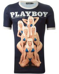 Dolce & Gabbana - Blue 'Playboy' Print T-Shirt for Men - Lyst