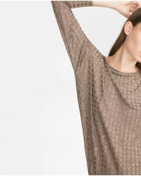 Zara | Natural Patterned Top | Lyst