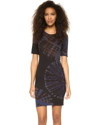 Raquel Allegra - Short Sleeve Fitted Dress - Black & Blues Tie Dye - Lyst