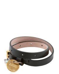 Alexander McQueen - Black Leather Swarovski Skull Bracelet for Men - Lyst