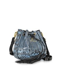 Roberto Cavalli - Drawstring Powder Blue Elaphe Snakeskin Bucket Bag - Lyst