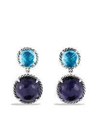 David Yurman | Metallic Châtelaine Double-drop Earrings With Black Orchid & Blue Topaz | Lyst