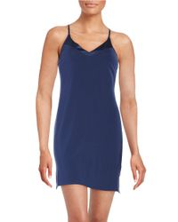Calvin Klein | Blue Essentials Satin Trim V Neck Chemise | Lyst