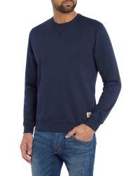 Wrangler | Blue Crew Neck Basic Sweatshirt for Men | Lyst