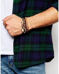 ASOS - Leather Bracelet Pack In Brown With Shell Detail for Men - Lyst
