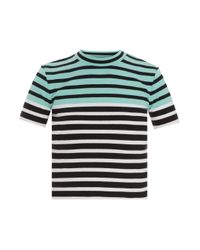 T By Alexander Wang | Multicolor Stretch Stripe Cropped Tee | Lyst