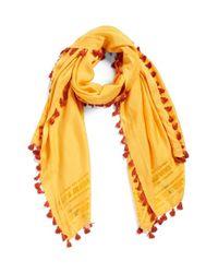 La Fiorentina - Yellow Tassel Scarf - Lyst